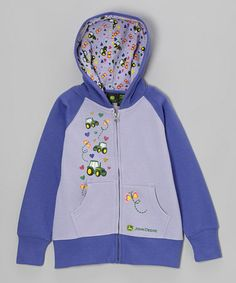 Take a look at this Purple Tractor Butterfly Zip-Up Hoodie - Girls by John Deere on #zulily today!