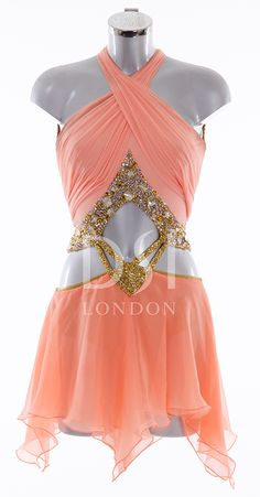 Coral and Gold Latin Dress as worn by Kristina Rhianoff on Strictly Come Dancing 2014. Designed by Vicky Gill and produced by DSI London