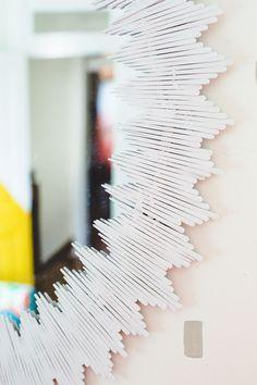 Delicate Sunburst Mirror DIY made with match sticks(click through for tutorial)