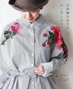 【楽天市場】【再入荷♪4月26日12時&22時より】「french」花刺繍を添えたロングシャツトップス:cawaii