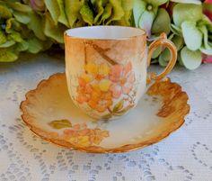 Beautiful Antique Limoges Porcelain Demitasse Cup & Saucer ~ Floral Gold Gilt #Limoges
