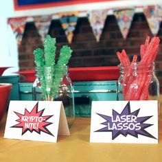 This Girl's Life: {superhero birthday party}--love rock candy kryptonite and twizzler lassos
