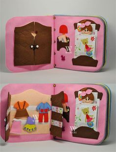 Dollhouse Quiet Book/ 12 pages/ Felt Quiet Book/ by WeriBeauties