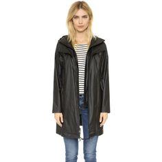 DKNY Pure DKNY Hooded Coat (11.217.760 VND) ❤ liked on Polyvore featuring outerwear, coats, black, dkny parka, lightweight parka, parka coat, long sleeve coat and dkny coats