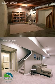 When it comes to basement remodels, there is no shortage of modern basement ideas to borrow from. This West Lafayette family was ready to reclaim their empty, unfinished basement and gain valuable living space for their family. Low Ceiling Basement, Basement Steps, Basement Plans, Basement Flooring, Basement Finishing, Basement Living Rooms, Modern Basement, Basement House, Basement Apartment