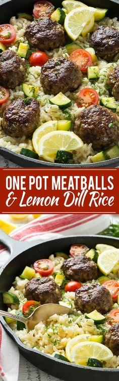 This recipe for one pot greek meatballs with lemon dill rice includes savory greek spiced beef meatballs, creamy arborio rice and vegetables, all cooked together in a single pot! paleo dinner for one Arborio Rice, Beef Dishes, Food Dishes, Healthy Eating Tips, Healthy Recipes, Healthy Nutrition, Healthy Meals, Vegetarian Recipes, Food Dinners