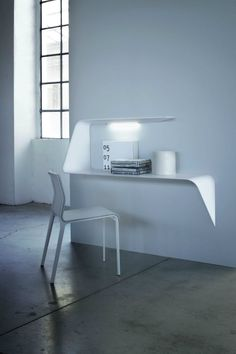 Designed by Victor Vasilev for MDF Italia. // This curved floating shelf has a light that shines in the middle of it to perfectly illuminate your work area. - seen on: 16 Wall Desk Ideas That Are Great For Small Spaces Floating Wall Desk, Floating Shelves, Large Shelves, Desk Shelves, Bureau Design, Home Office Design, Home Office Decor, Home Decor, Home Furniture
