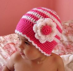 PDF Instant Download CROCHET PATTERN No 053 Striped Beanie with the Flower all sizes