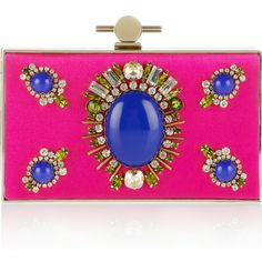 Jason Wu Karlie crystal and stone-embellished satin box clutch (12.290 ARS) ❤ liked on Polyvore featuring bags, handbags, clutches, jason wu, purses, bolsas, fuchsia, pink clutches, clear handbags purses and hard clutch