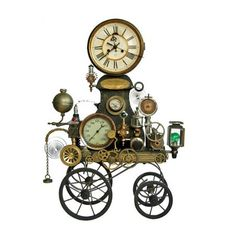 "Steampunk clock on wheels! Does that make it ""clockwork? Steampunk Clock, Steampunk Design, Steampunk Fashion, Steampunk Gadgets, Steampunk Cafe, Steampunk Makeup, Steampunk Machines, Gothic Fashion, Steampunk Accessoires"