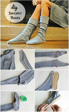 Trash To Couture: DIY Upcycled Sweater Boots - sewing/clothes/purse Diy Sweatshirt, Diy Pullover, Pullover Upcycling, Trash To Couture, Old Sweater, Sweater Boots, Upcycled Sweater, Sweaters, Jumper