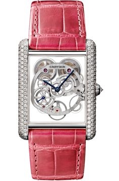 Get this luxurious Tank Louis Cartier Skeleton XL Model Diamond White Gold Case Fuchsia Alligator Leather Strap Womens Watch Unusual Watches, Brand Name Watches, Gold Diamond Watches, Cartier Tank, Custom Jewelry Design, White Gold Diamonds, Gold Watch, Gold Set, Pink Leather