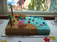 I made a cake with a beach scene for a friends daughters birthday party using a full sheet cake pan. I made a chocolate cake with buttercream icing half tinted with aqua food col Hawaiian Theme Cakes, Beach Themed Cakes, Beach Cakes, Beach Birthday Cakes, Cakes To Make, How To Make Cake, Full Sheet Cake, Sheet Cake Pan, Sheet Cakes