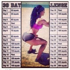 30 Day Squat Challenge... i am alomst done with the thirty days, and its made a huge difference! So worth it. My knees didnt handle it well at first, but they are stronger now, too, and so just push through those first couple of weeks. I am going to continue to do these. Ive never seen my butt or legs look this good or shaped up!