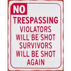 Mustang No Trespassing Parking Sign