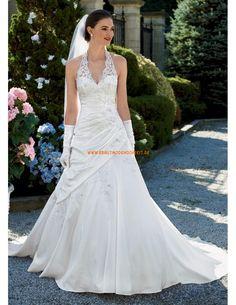A--linie Bodenlang Brautkleider 2014 aus Satin mit Spitze