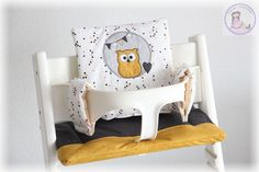 www.muriels-nähatelier.ch - muriels-nähatelier Baby Set, Toddler Bed, Chair, Furniture, Home Decor, Pink, Fabric Owls, Gray Fabric, Basic Colors