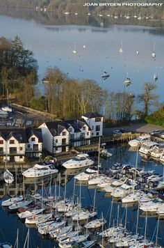 Aerial view of Bowness Marina in the Lake District National Park, Cumbria, England
