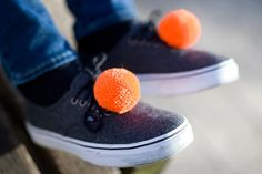 handmade shoe clips with fluorescent orange pompoms by bimabejbe, €14.00