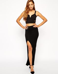 Image 1 of ASOS Column Maxi Skirt with Thigh Split