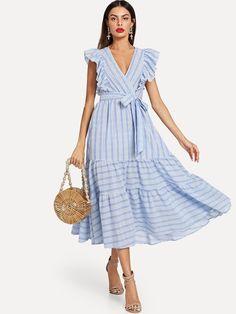 Milumia Women Striped Wrap Fit and Flare Ruffle Sleeveless Sundress V Neck Sleeveless Dress Blue XS Striped Dress, Ruffle Dress, Dress Skirt, Pretty Dresses, Flower Dresses, Fit And Flare, Fit Flare Dress, Mantel, Ideias Fashion