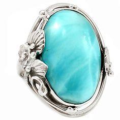 Larimar - Dominican Republic 925 Sterling Silver Ring Jewelry s.7 SR203659   eBay