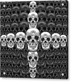 Memento Mori - Cross Of Silver Human Skull On Black  Acrylic Print by Serge Averbukh