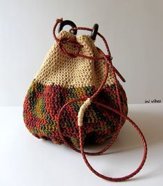 Retro Crochet Drawstring Bag Crossbody bag w/ leather by InIVibez, $88.08......the shape of this bag is interesting for a grocery bag. With a cut out handle...