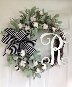 Cotton Wreath Front Door Wreath Farmhouse Wreath Year Round Wreath Everyday Wreath Cotton Door Decor Welcome Wreath Spring Wreath Diy Wreath, Grapevine Wreath, Initial Wreath, Tulle Wreath, Wreath Ideas, Cotton Wreath, Year Round Wreath, Welcome Wreath, Fall Wreaths