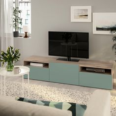 BESTÅ TV unit - walnut effect light gray, Notviken gray-green - IKEA Tv Banco, Besta Tv Bank, Green And Grey, Black And Brown, Plastic Foil, Ikea Family, Knobs And Handles, Drawer Fronts, Tv Unit