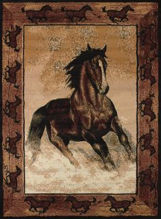 "United Weavers of America Legends Stallion Border 5'3""x7'2"" Area Rug, Black"