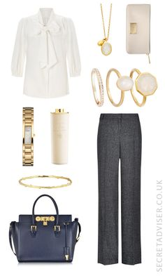 Balance a pair of grey trousers with a cream pussybow blouse. Accessorise with cream and gold jewellery, and finish with a navy and gold handbag. Click through for where to buy.