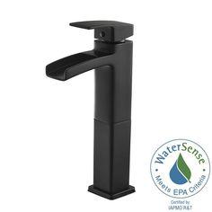 Pfister Kenzo Single Hole Single-Handle Vessel Bathroom Faucet in Matte Black-LG40-DF0B - The Home Depot