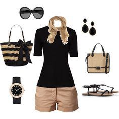 Spring / summer - street style - Black + Khaki always work! Passion For Fashion, Love Fashion, Womens Fashion, Gothic Fashion, Mode Style, Style Me, Shorts Casual, Look 2015, Fasion