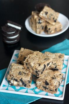 Cookies and Cream PB Blondies ~T~ Oreos and peanut butter get together to make this yummy bar.