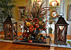 I hope you all are enjoying fall! It will be Thanksgiving before we know it.two more weeks! I shared my fall mantel several weeks a. Thanksgiving Decorations, Seasonal Decor, Holiday Decor, Thanksgiving Table, Holiday Tables, Fall Home Decor, Autumn Home, Autumn Fall, Fall Arrangements
