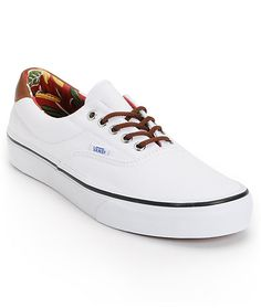 If you're a vacationer at heart, don't let the cold seasons ruin that for you. Slip into the Vans Era 59 true white and aloha print canvas shoes so you can always keep the good times close. The pristine white canvas exterior mixed with the aloha print int