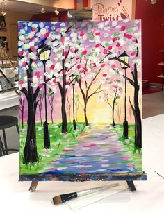 """Put a spring in your step by painting """"Spring Stroll!""""   Find this event: https://www.paintingwithatwist.com/paintings/spring-stroll-5802"""
