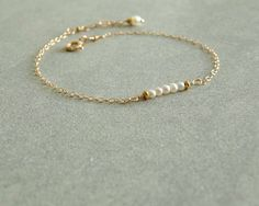 Small Pearl Bracelet natural pearls gold chain by bluegreenjewels