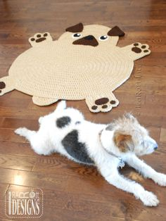 Crochet Pattern PDF for making an adorable Pug Puppy Dog Rug or Nursery Mat Crochet Carpet, Crochet Home, Crochet Crafts, Crochet Yarn, Crochet Projects, Animal Rug, Knit Rug, Crochet Rug Patterns, Stuffed Animal Patterns