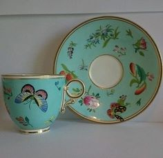 19th century royal worcester turquoise aesthetic cup saucer fine incised 7273
