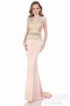 Elegant crepe dress featuring a delicate cap sleeve lace bodice. Style: 1622E1570 #PinkDress #LaceDress #LongDress #EveningGown #SleevedDress