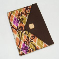 eReader Tablet Cover - Book Style  Beautiful Retro Argyle in brown, peach and orchid.