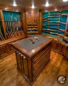 American Black Walnut Gun Room, Beautiful display for your gun library. Custom built to fit the space and collection of guns.