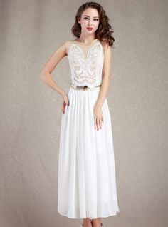 White Embroidery Disk Flowers Chiffon Dress($49 , originally 58.8) on hot sell now ,so elegant and sweet , just own it to show your styl e