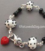 Dalmatian Polka Dot Dog Bone Bracelet Red Heart OOAK Handmade Jewelry