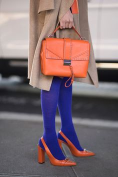 10 Chic Ways to Transition Your Wardrobe from Winter to Spring – Hosiery Designs Colourful Outfits, Colorful Fashion, Colorful Clothes, Colorful Shoes, Orange Hose, Spring Outfits, Winter Outfits, Shoes, Style Fashion