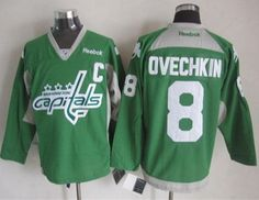 """$35.88 at """"MaryJersey""""(maryjerseyelway@gmail.com) Capitals 8 Alex Ovechkin Green St. Patrick Day Practice Stitched NHL Jersey"""