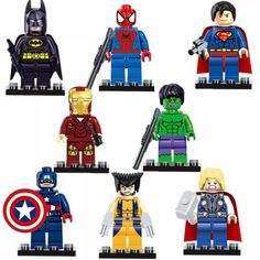 Super heroes The Avengers Figures Superman Batman Iron Man Hulk Wolverine Minifigures building blocks Compatible with lego toys (WITHOUT original boxes) The Avengers, Marvel Dc, Iron Man, Figurine Batman, Spiderman Action Figure, Superman And Spiderman, Die Rächer, Captain American, Building Toys