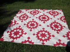 SALE..antique quilt, handmade quilt, red/white. handsewn quilt bedding on Etsy, $393.79 CAD
